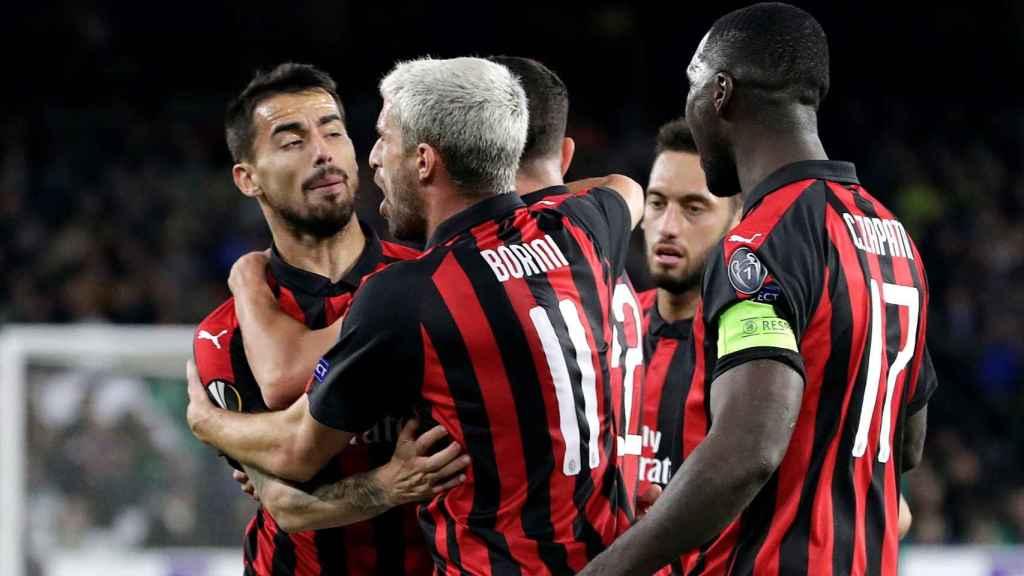 El Milan en un partido de Europa League