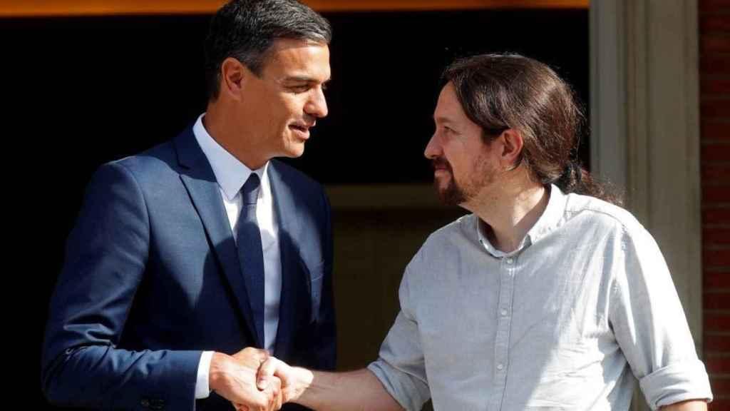 Sánchez e Iglesias, antes de una reunión en Moncloa.