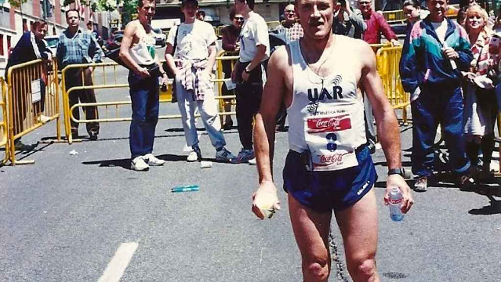 Manuel Murillo Sánchez antes de correr una maratón.