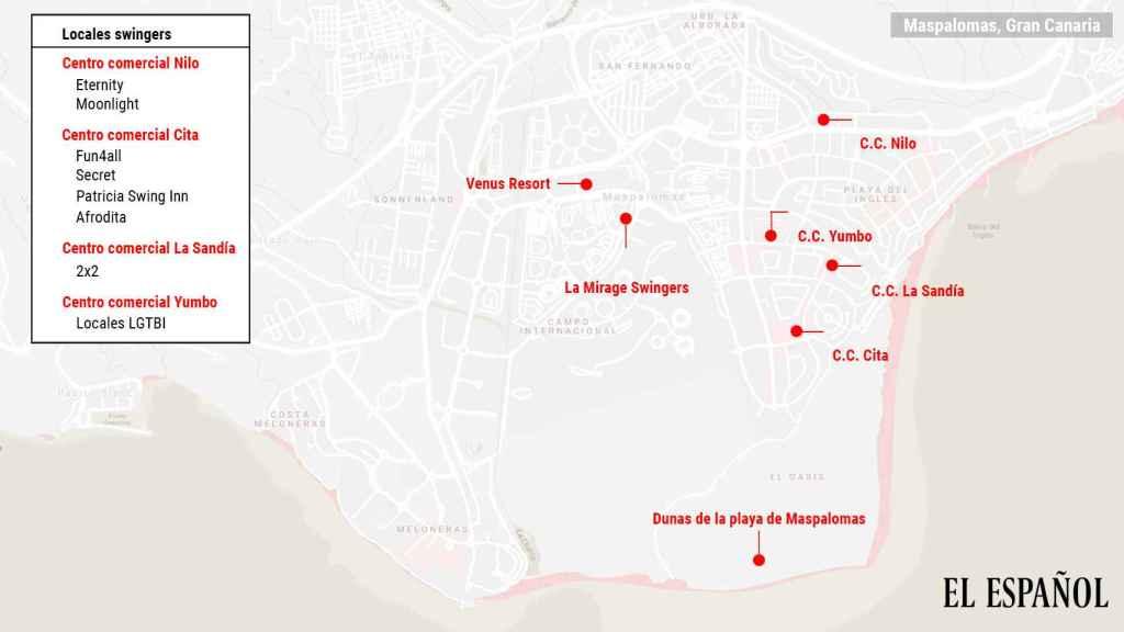 Mapa de los principales puntos turísticos de sexo de la localidad de Maspalomas