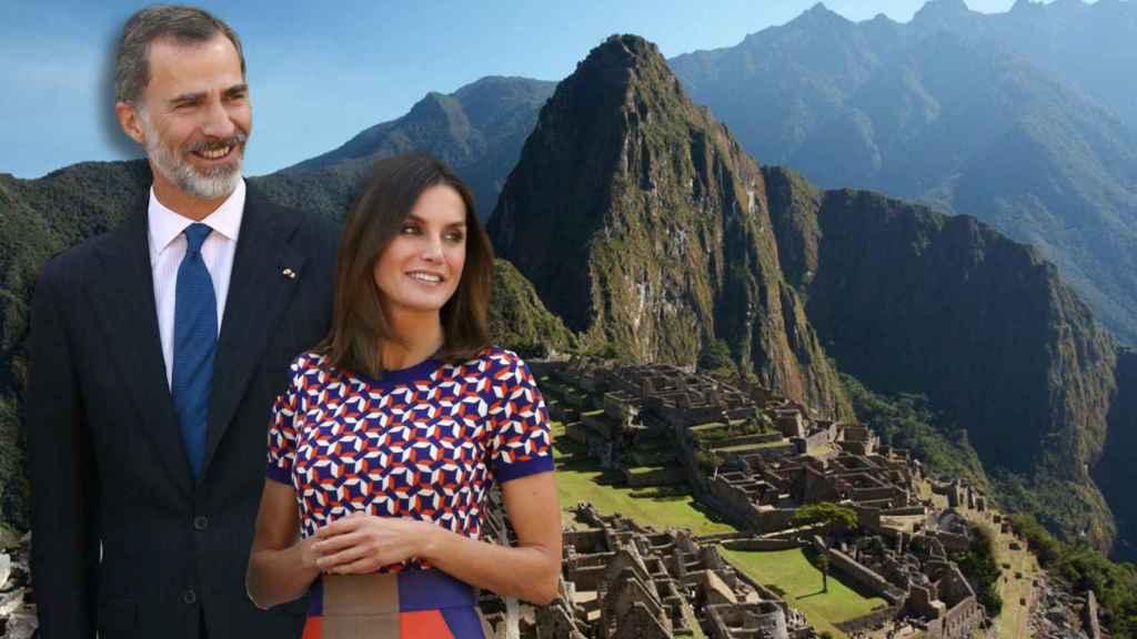 Los reyes en un montaje con Machu Picchu de fondo.