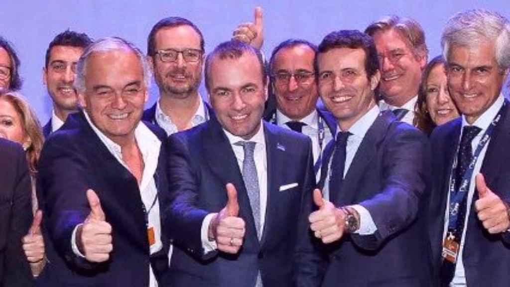 Esteban González Pons, Manfred Weber, Pablo casado y Adolfo Suárez Illana, en el congreso del PPE.
