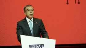 Liang Hua, presidente de Huawei, durante el discurso inaugural de Huawei European Innovation Day.