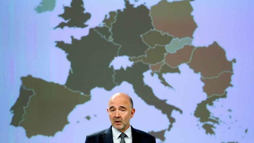 El comisario Moscovici, durante la presentación de las previsiones económicas