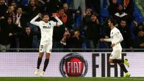 Parejo celebra su gol en el Getafe - Valencia de La Liga