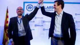 Alejandro Fernández, nuevo presidente del PP catalán, y Pablo Casado, líder nacional de los 'populares'.