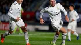 Franchu, tras anotar su gol ante el Burgos