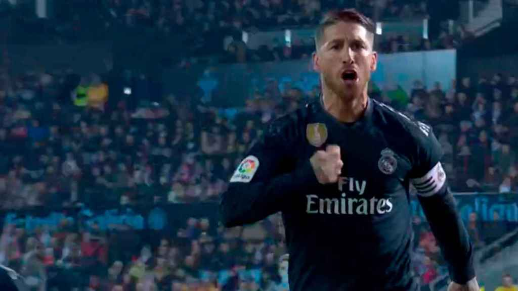 Sergio Ramos celebra su gol ante el Celta