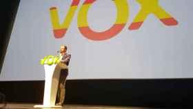 Santiago Abascal, presidente de Vox, en el Palacio de Congresos de Sevilla.