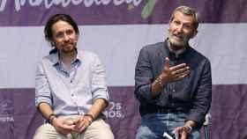 Pablo Iglesias y Julio Rodríguez, durante la campaña del 26-J, cuando fue número dos por Almería.