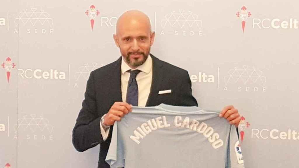Miguel Cardoso en su presentación con el Celta de Vigo. Foto: Twitter (@RCCelta)