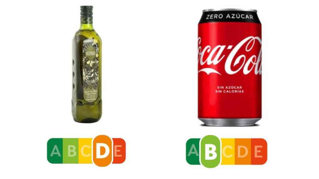 El aceite de oliva obtiene la calificación 'E' y el refresco, 'B'.