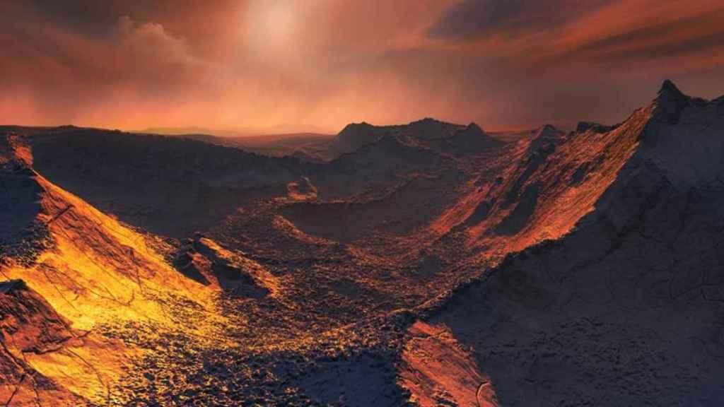 Recreación de una puesta de sol en el exoplaneta estrella Barnard b.