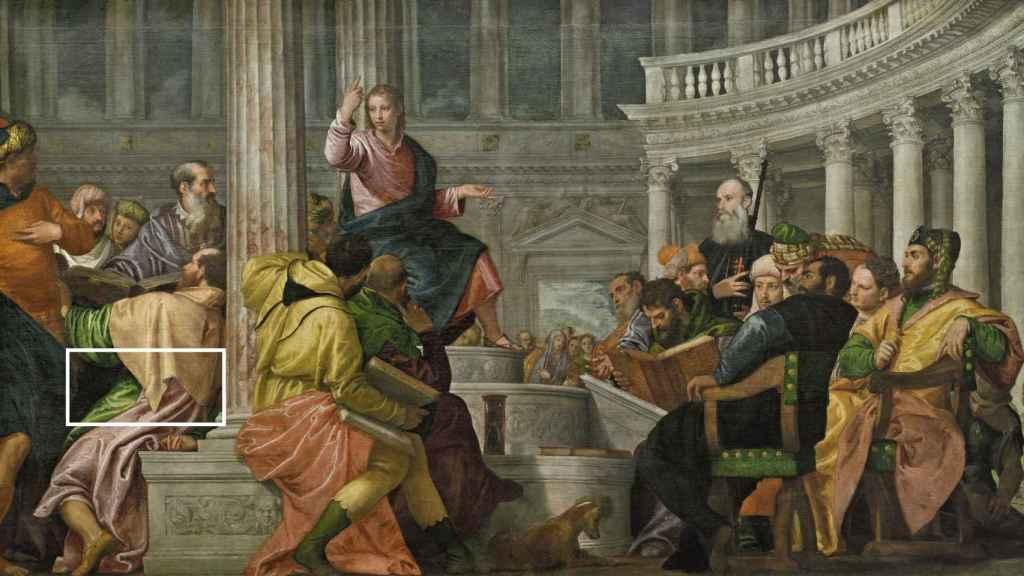 'La disputa con los doctores en el Templo', de Paolo Veronés, y el detalle de vestuario utilizado para cubrir la fachada de la pinacoteca.
