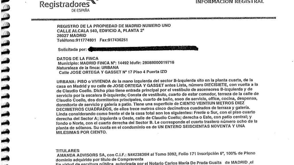 Información registral del piso en Madrid atribuido al fiscal general colombiano, Néstor Humberto Martínez Neira.