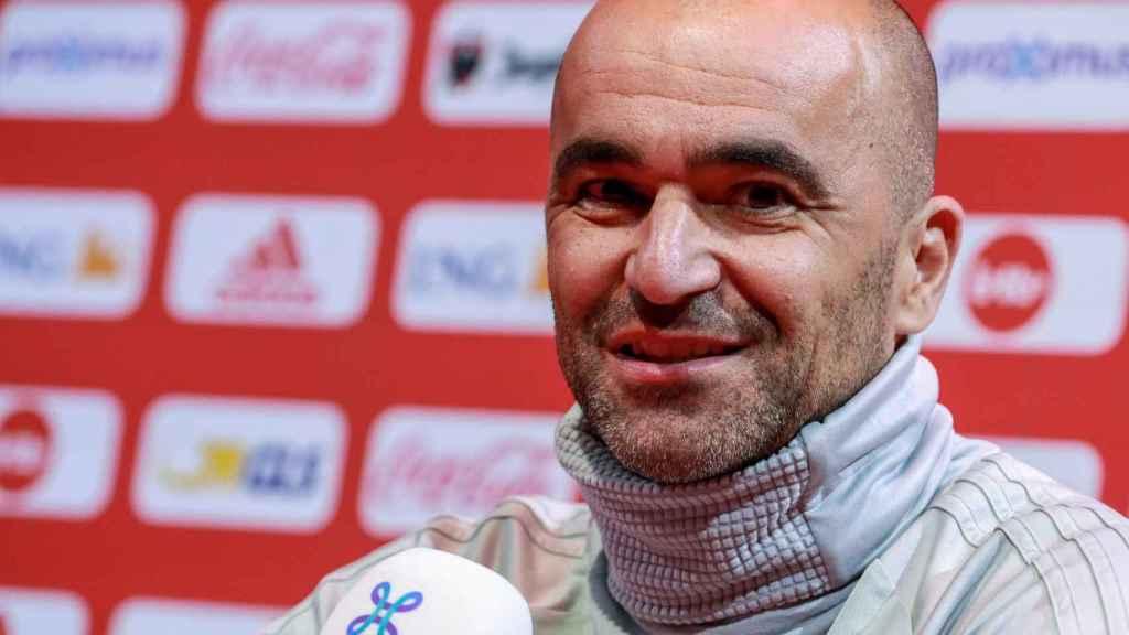 Roberto Martínez, en la rueda de prensa de Bélgica