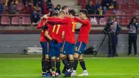 La selección española sub21 celebrando un gol