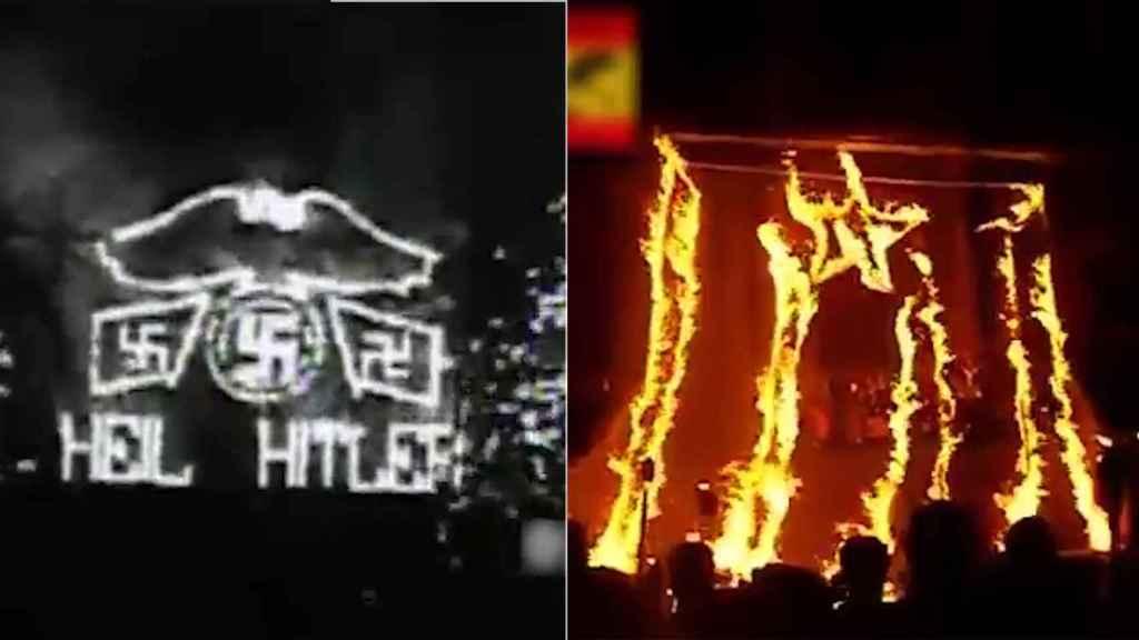 Dos de las imágenes que enfrenta el vídeo: los símbolos nacionalistas, grabados a fuego.
