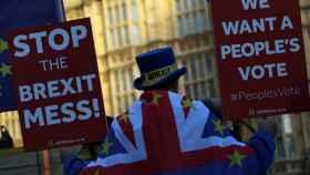 Manifestante contra el 'brexit' frente al Parlamento británico