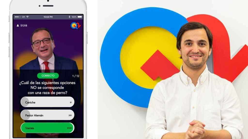 A la izquierda, el presentador Juanjo de la Iglesia en un momento del juego. A la derecha, el fundador, Carlos Alcántara.