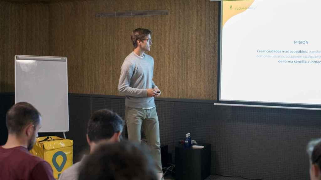 Óscar Pierre, CEO de Glovo, durante la presentación del proyecto.