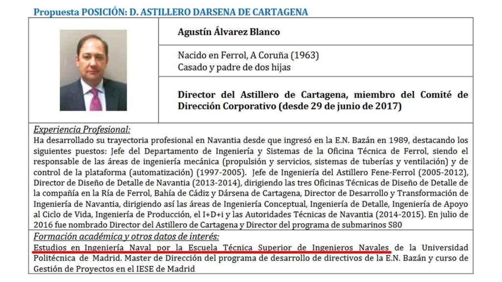 La modificación del currículo académico del director del astillero de Cartagena