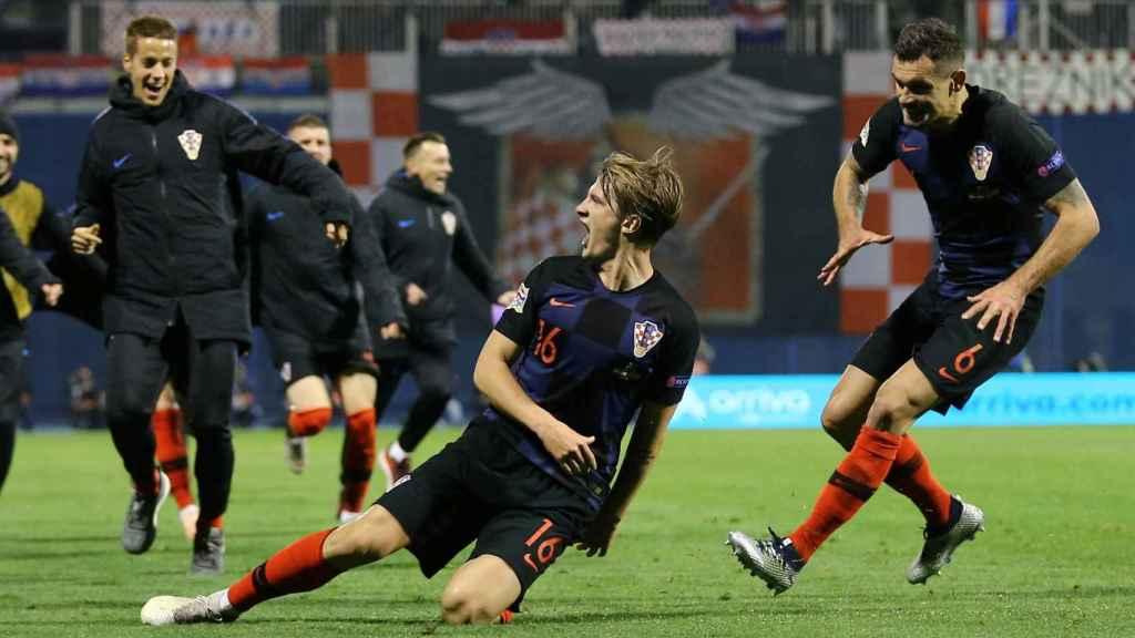 Croacia celebra el gol de la victoria