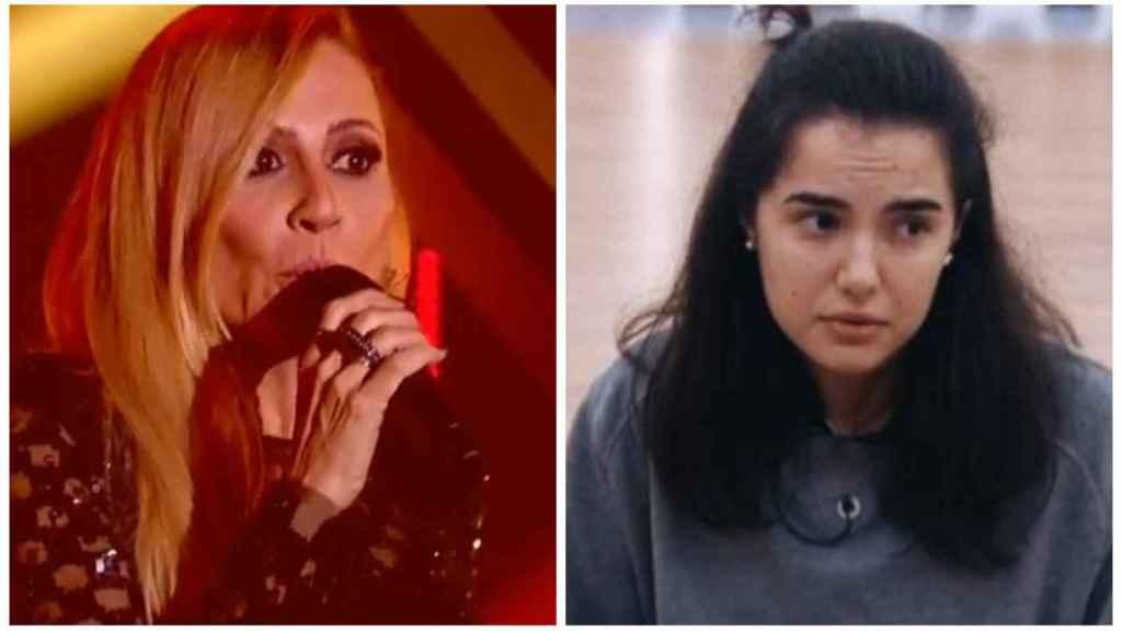 Marta Sánchez en montaje de JALEOS con la concursante Marta.
