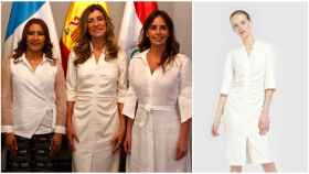 Begoña Gómez en un montaje de JALEOS junto al vestido.