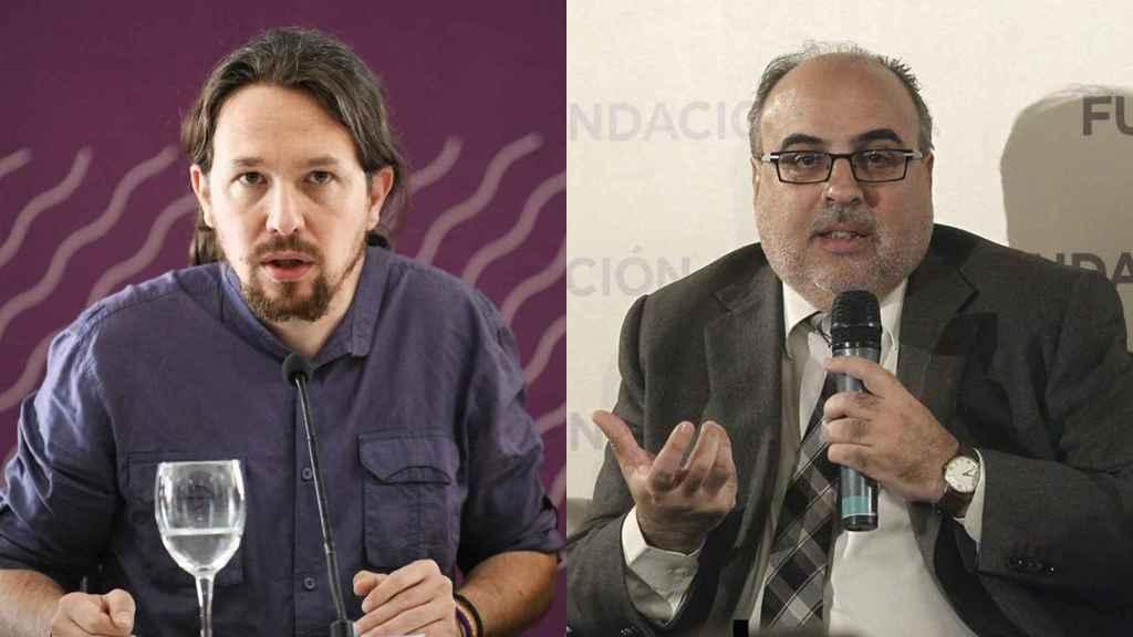 Pablo Iglesias y el periodista Enric Juliana.