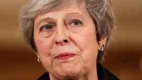 May durante una comparecencia en Downing Street.