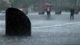Imagen de las fuertes lluvias caídas en Barcelona.