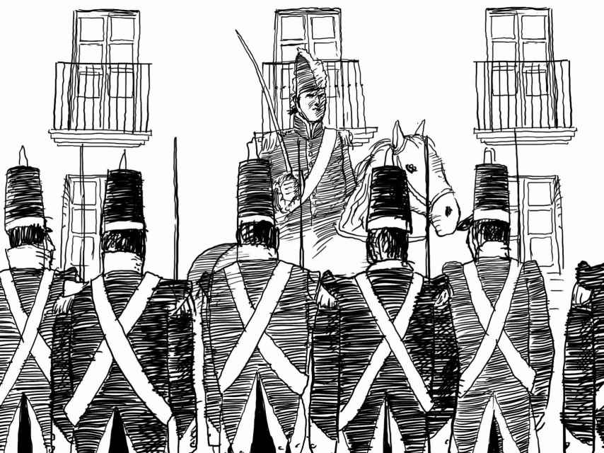 El Coronel Rafael del Riego pasa revista a sus tropas.
