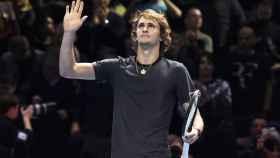 Alexander Zverev celebra su victoria ante Roger Federer en el Torneo de Maestros