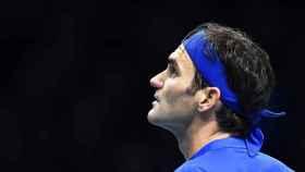 Roger Federer, en el partido ante Alexander Zverev del Torneo de Maestros de Londres