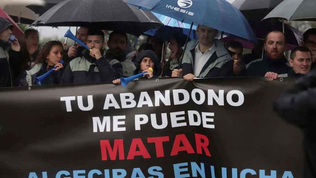 Protestas de trabajadores de la prisión de Botafuegos de Algeciras (Cádiz).
