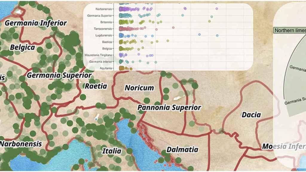 Gráfico sobre las rutas comerciales del Imperio Romano.