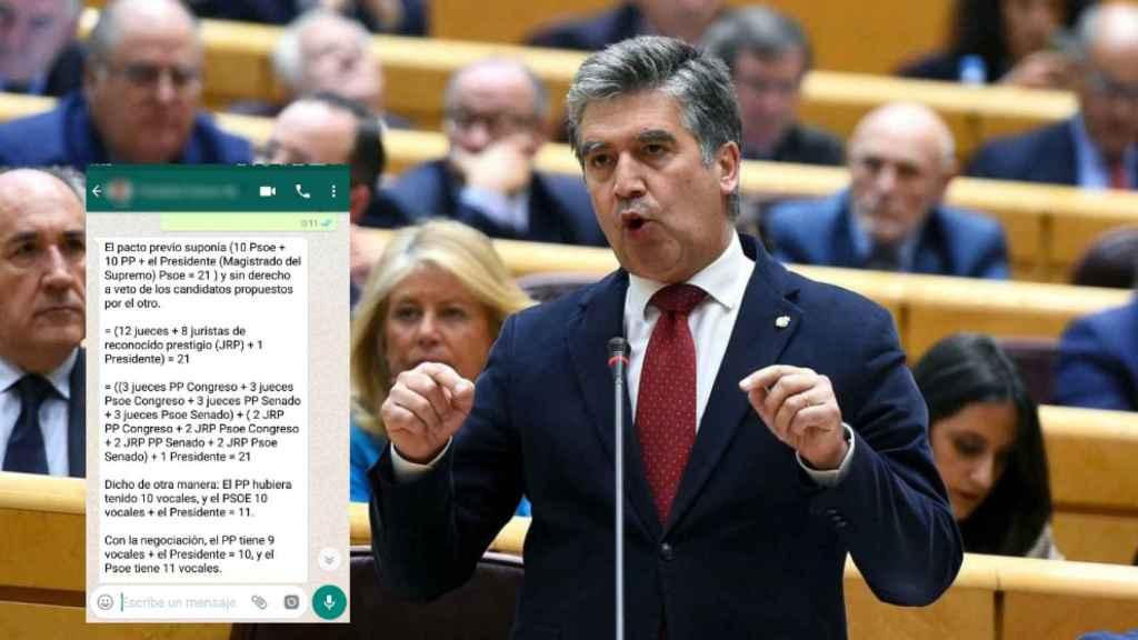 Ignacio Cosidó junto a una representación del 'whatsapp' que ha enviado a los senadores del PP.