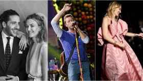 Marta Ortega, Carlos Torretta y Chris Martin de Coldplay en un montaje de Jaleos.