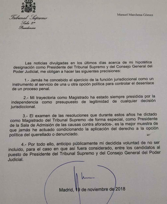 Carta de renuncia de Manuel Marchena a presidir el CGPJ y el Supremo.