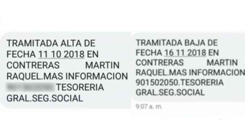 Los mensajes de alta y baja en la Seguridad Social que recibió el José Rafael real.