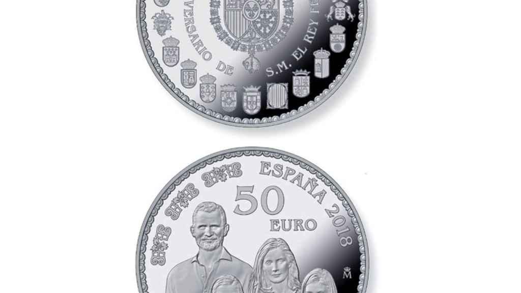 Moneda de 50 euros con la familia real al completo