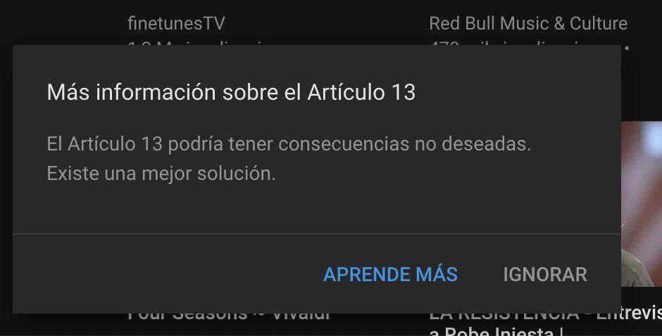 youtube articulo 13