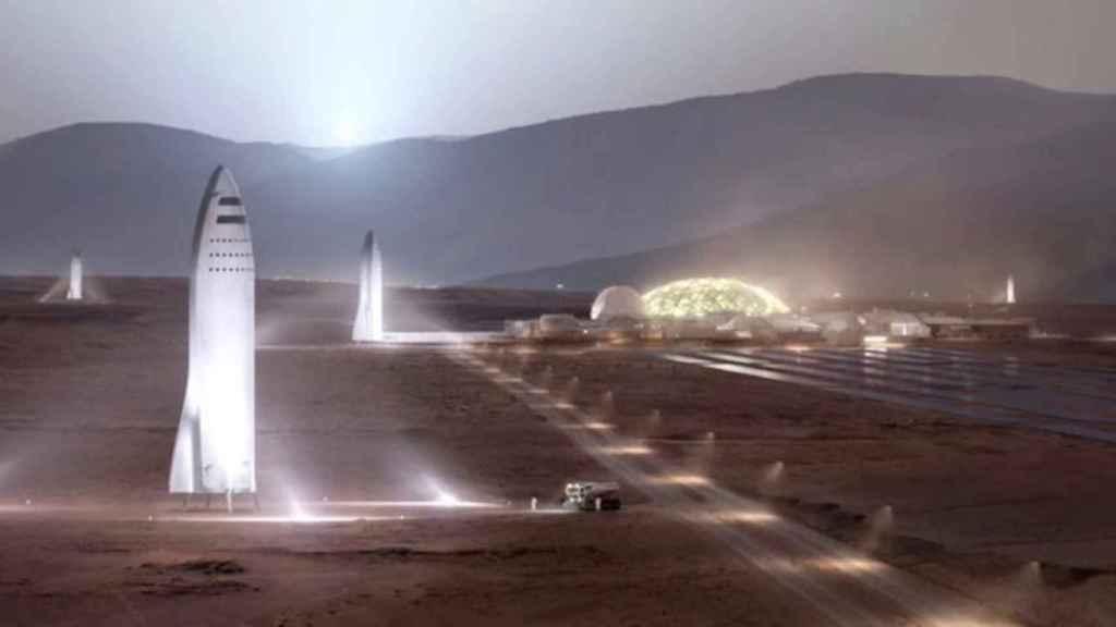 Representación de naves Starship en Marte
