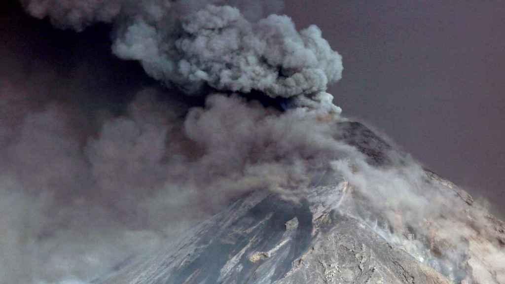 Erupción de un volcán en Guatemala.