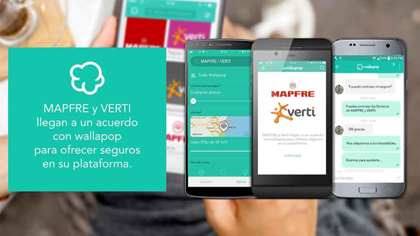 Imagen promocional del acuerdo de Mapfre, Verti y Walapop.