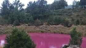 Así es la laguna de Cuenca que ha amanecido teñida de rosa