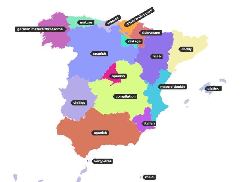 Mapa de las búsquedas porno por provincias de la web Xhamster.com