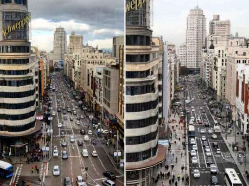 El antes y el después de la gran Vía de Madrid