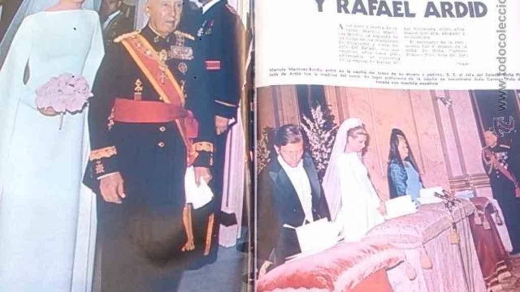 Boda de Mariola Martínez Bordiú, del brazo con su abuelo, el dictador Franco.